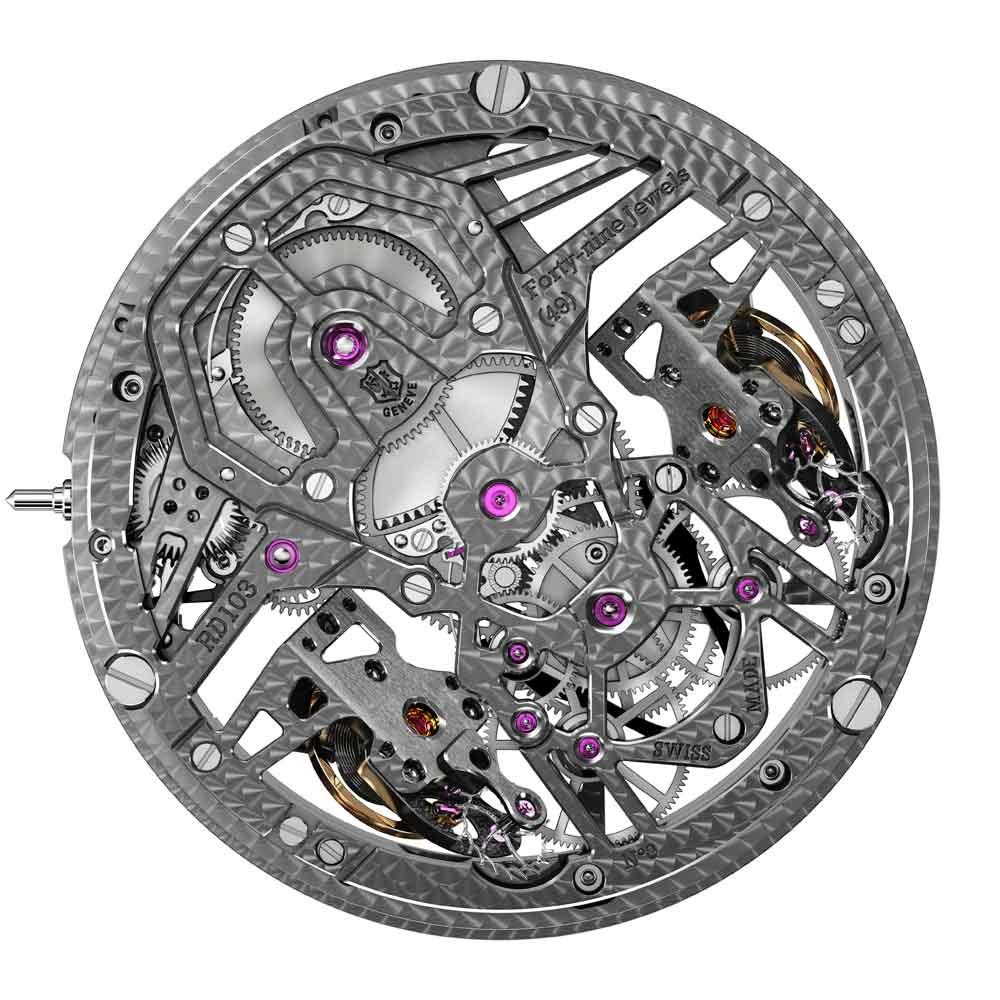 Mecanismo de cuerda manual Reloj ROGER DUBUIS EXCALIBUR AVENTADOR S por detrás