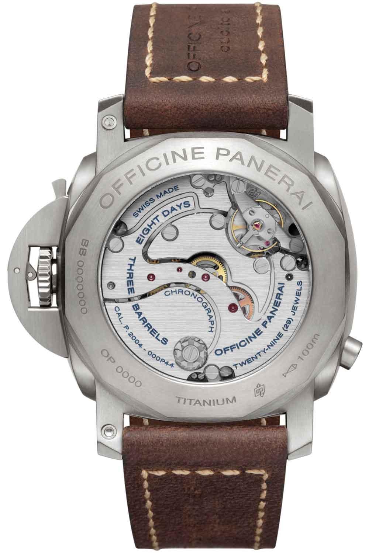 calibre relojes Panerai Luminor 1950 Chrono Monopulsante 8 Days GMT Titanio-44 mm