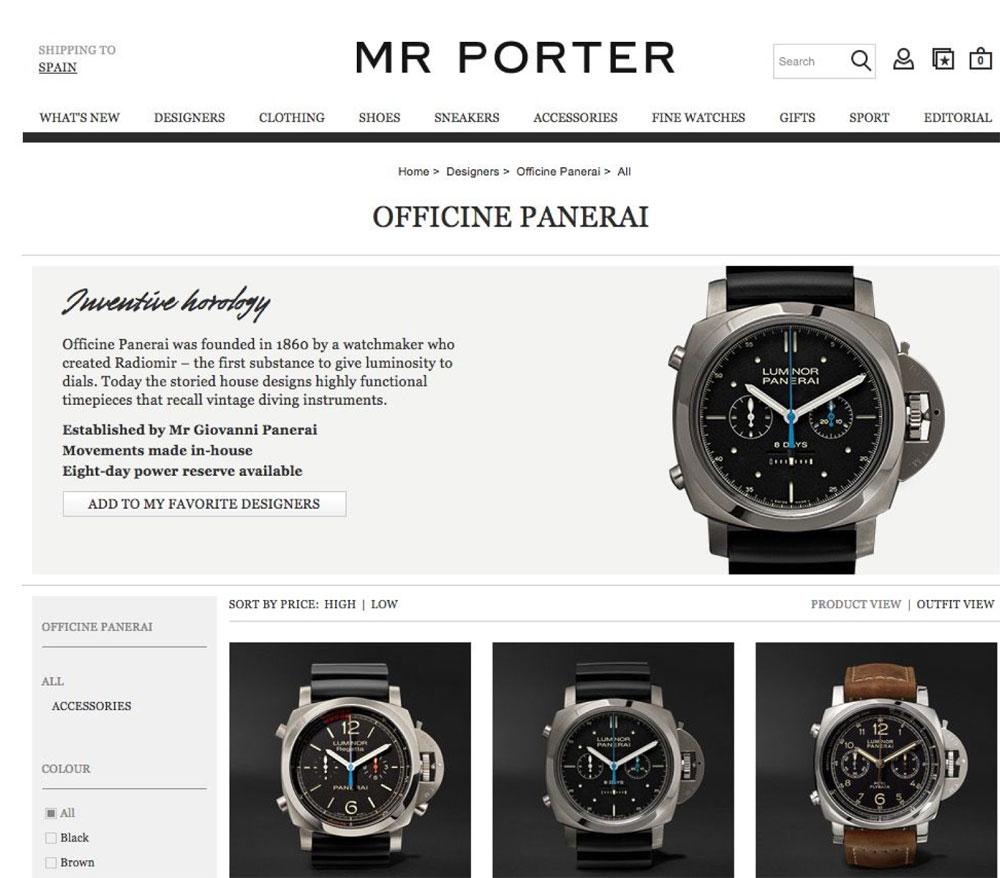 Paneria vende online en Mr Porter