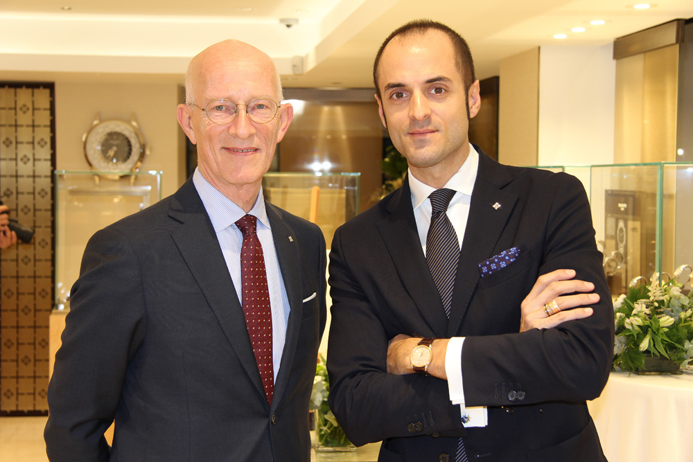 director de Patek Philippe España, John Vergotti, y Pere Quera Sans, sexta generación de la familia Quera
