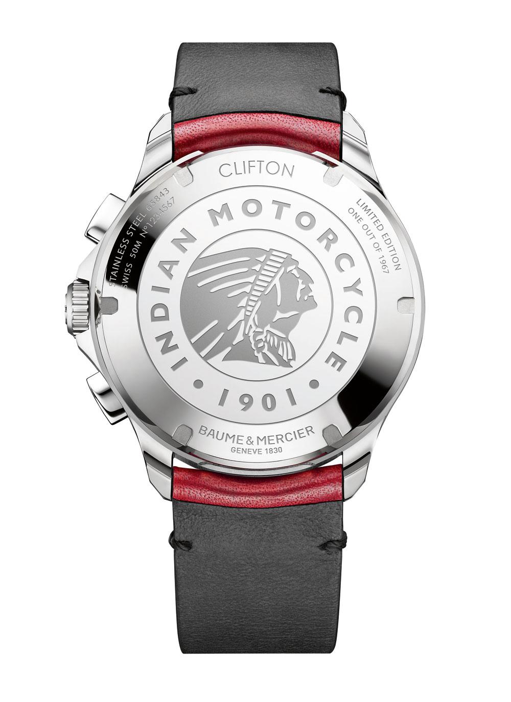 Fondo del reloj Clifton Club Burt Munro Tribute Edición Limitada de Baume & Mercier.