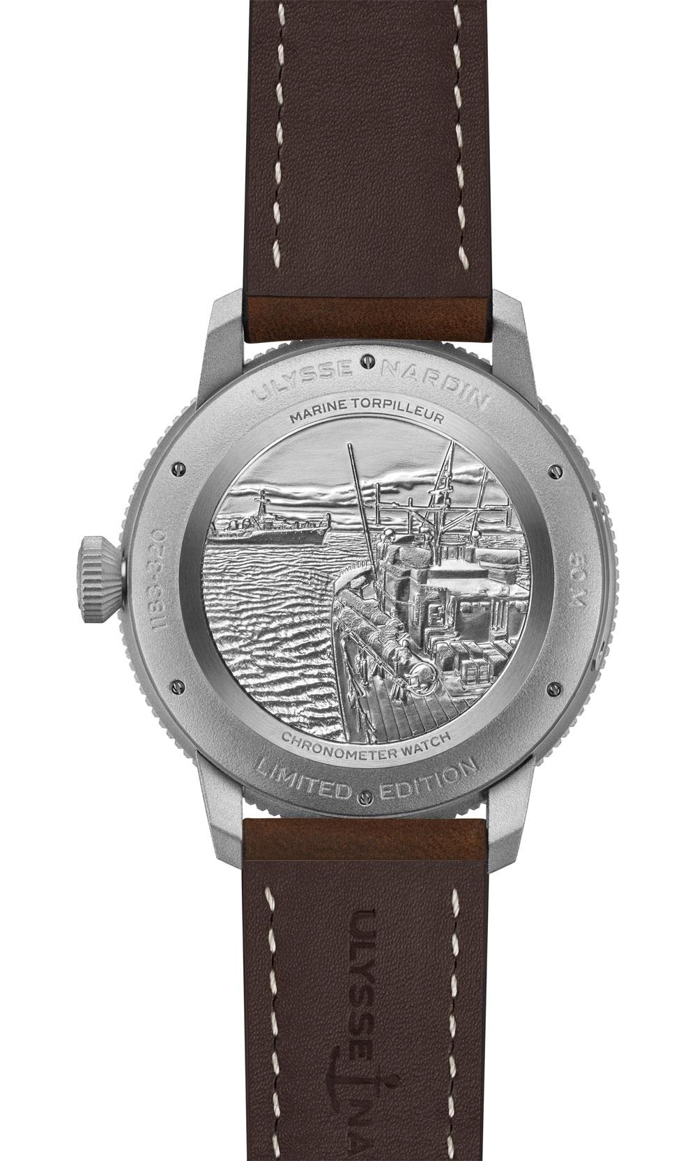 Fondo grabado Reloj Marine Torpilleur Military de Ulysse Nardin