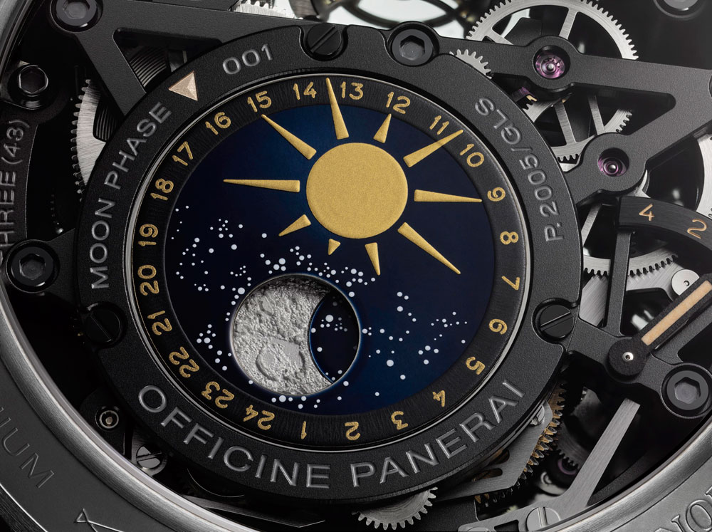 Fases de Luna del reloj el L'Astronomo Luminor 1950 Tourbillon Moon Phases Equation of Time GMT de Panerai