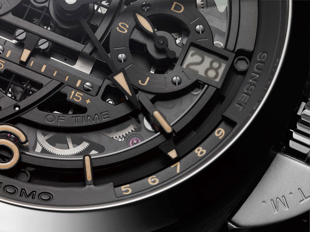 Indicador de fecha cristal polarizado Reloj el L'Astronomo Luminor 1950 Tourbillon Moon Phases Equation of Time GMT de Panerai