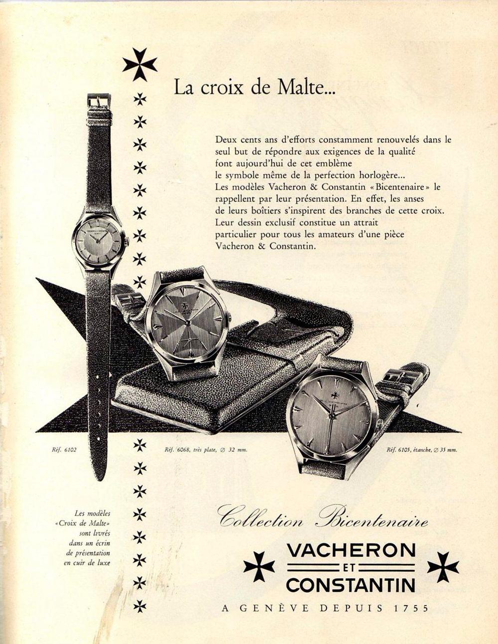 Publicidad de Vacheron Constantin de la referencia 6073 en la que se inspira la colección Fiftysix