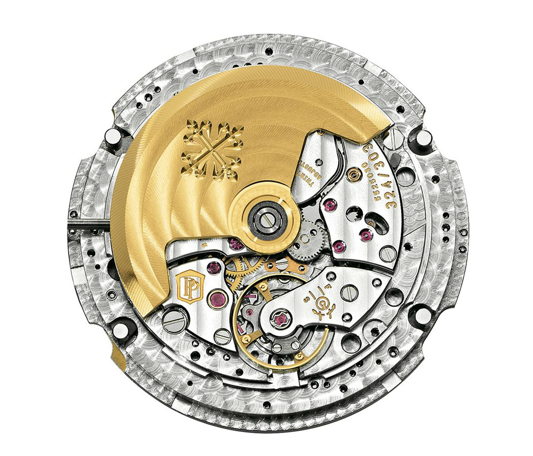 Mecanismo de carga automática, calibre Patek Philippe 324 S QA LU 24H/303 con calendario anual y fases lunares
