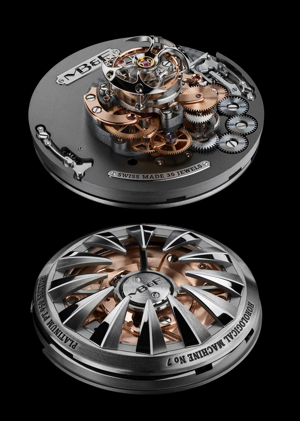 Mecanismo estructura vertical Reloj Horological Machine Nº 7 Aquapod Titanium Green de MB&F