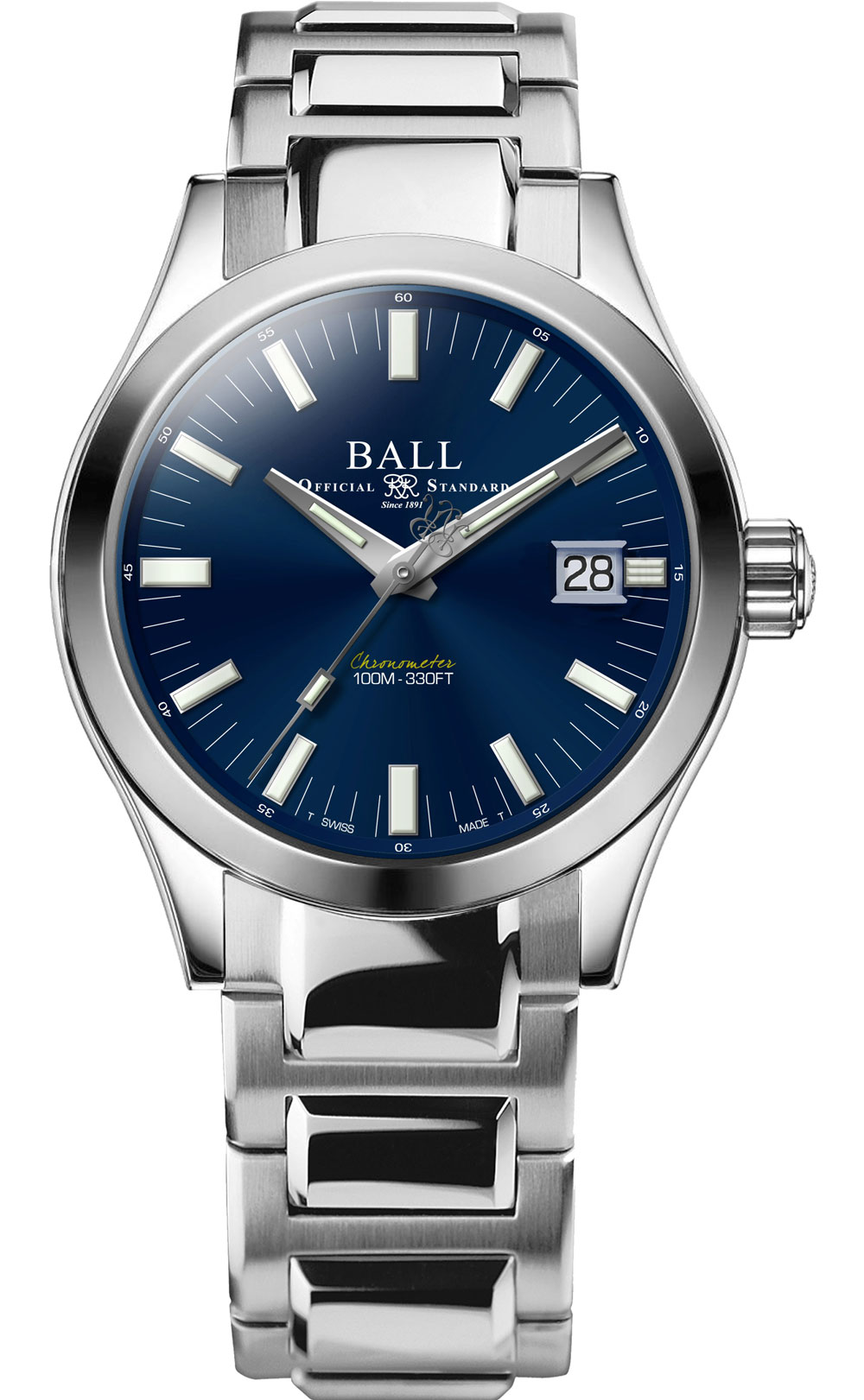 Engineer M Marvelight, el primer reloj equipado con un mecanismo manufacturado in house de Ball Watch esfera azul