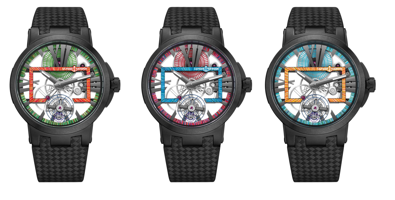 Tres versiones del Reloj Esqueleto Executive Skeleton Tourbillon Hyperspace de Ulysse Nardin