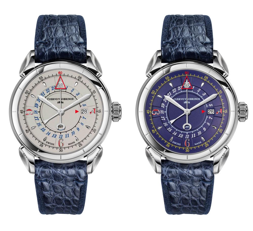 Reloj Historiador Vuelo GMT de Cuervo y Sobrinos con dos versiones de esfera: azul y marfil