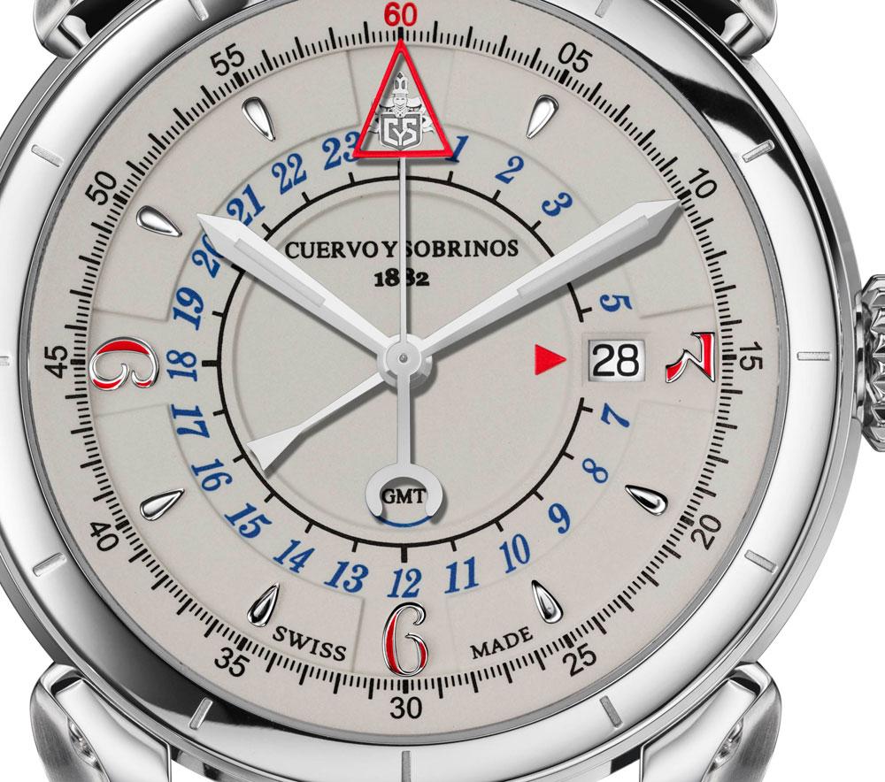 Esfera Reloj Historiador Vuelo GMT de Cuervo y Sobrinos