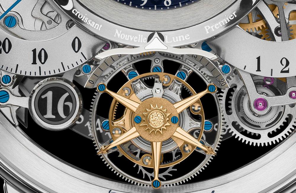 Indicación fecha en la esfera reloj astronómico Récital 22 Grand Récital oro rosa