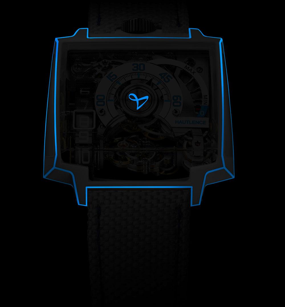 Reloj Vortex Gamma Tron de Hautlance visto en la oscuridad