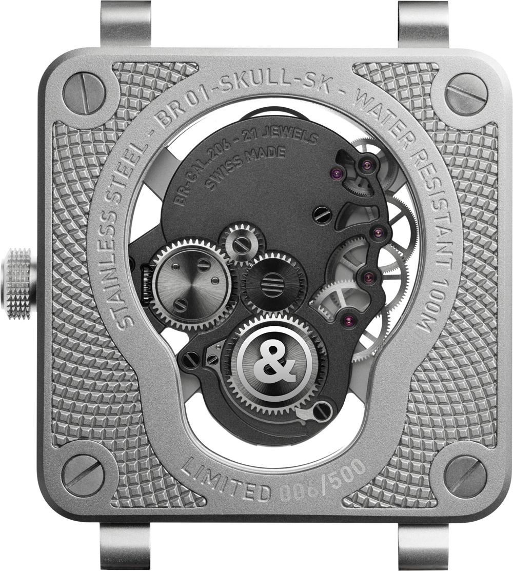 calibre BR-CAL.206, de cuerda manual, manufacturado al cien por cien por Bell & Ross del reloj BR 01 LaughingSkull