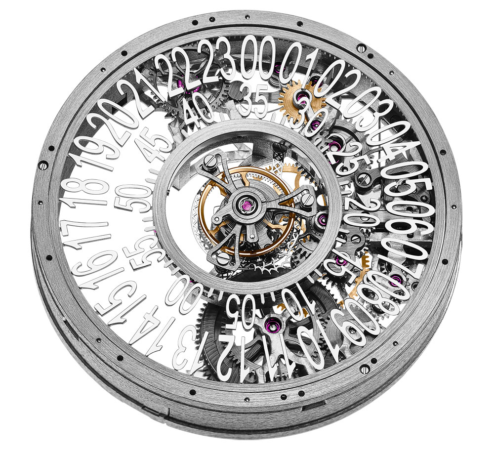 Esqueleto del Reloj IO Skeleton Central Tourbillon de Hysek en edición limitada a 88 ejemplares.