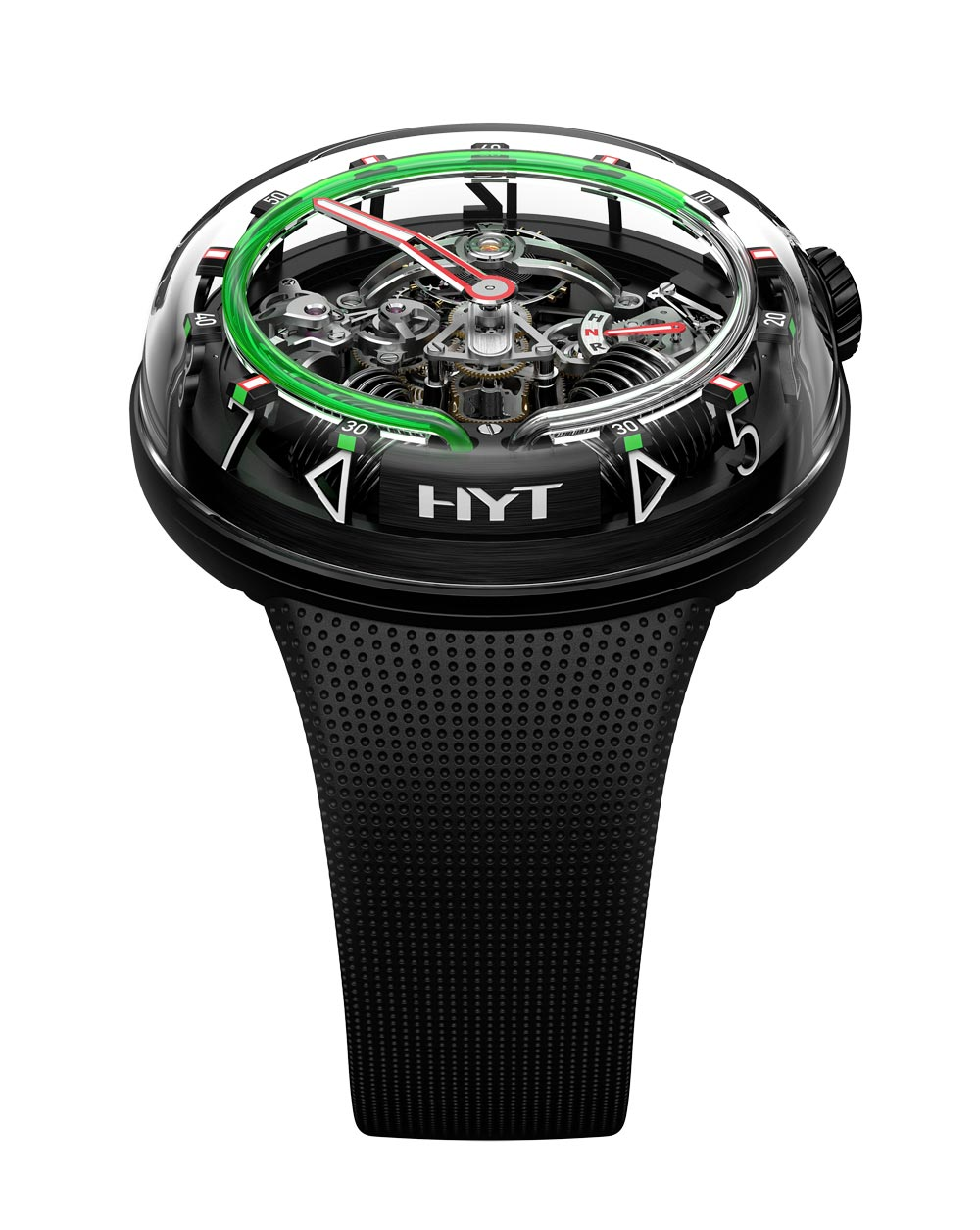 Reloj H20 de HYT ( The Hydro Mechanical Horologistic en color verde