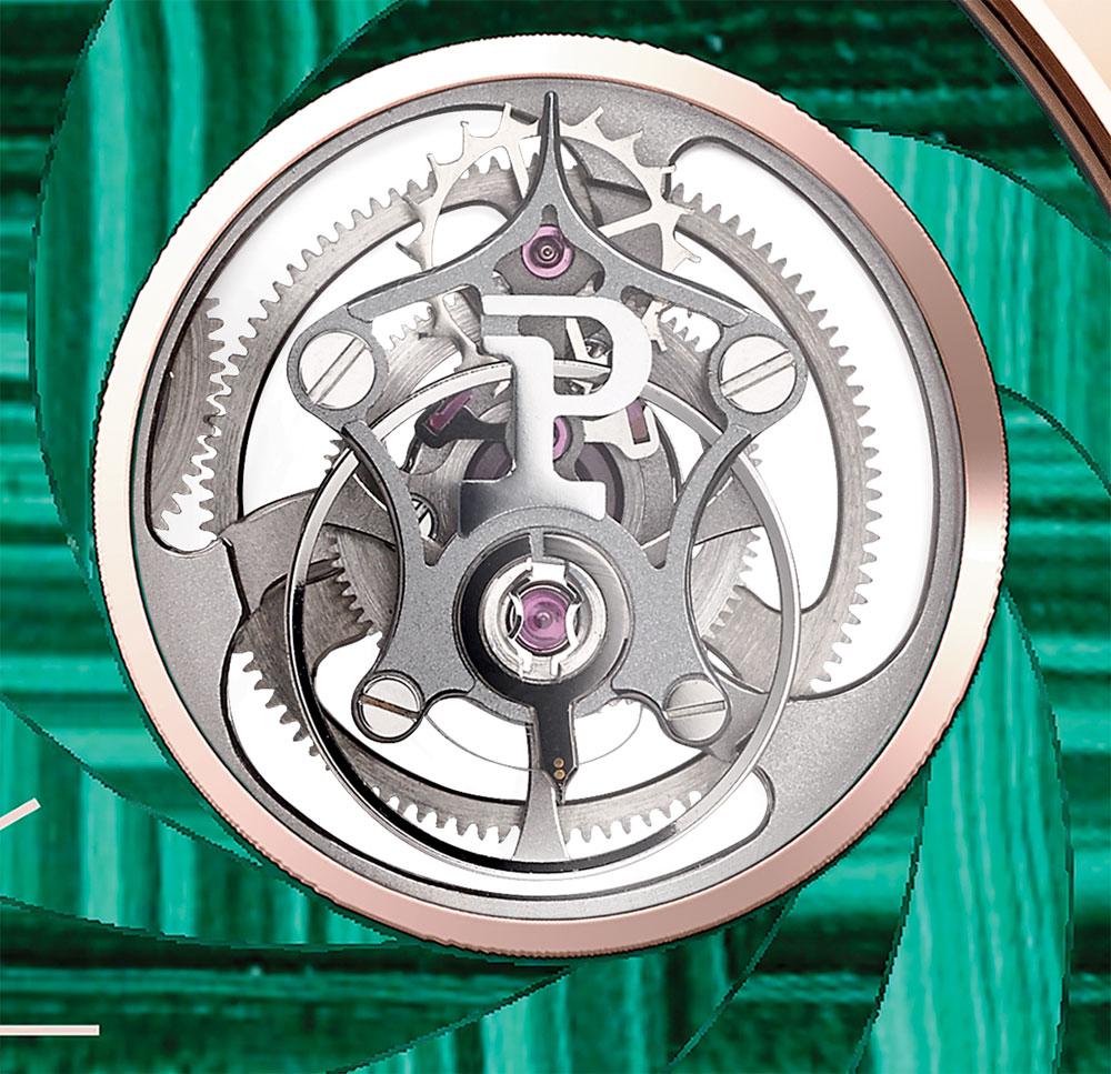 Tourbillon del reloj de Piaget Altiplano Tourbillon con marquetería de piedra