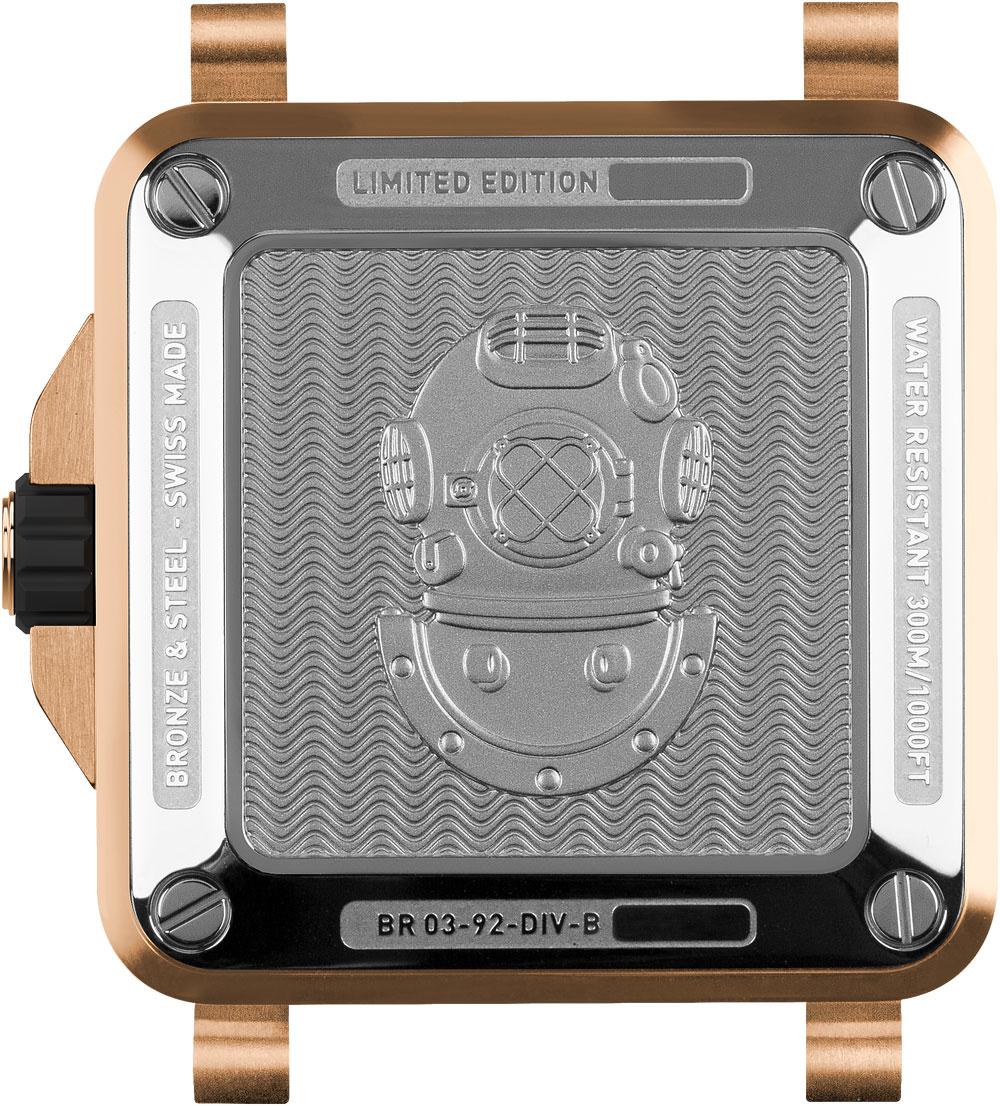 Fondo caja del reloj de buceo BR 03-92 Diver Bronze en edición limitada a 999 ejemplares