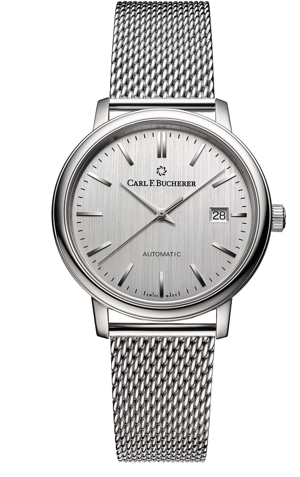 reloj clásico unisex automático correa milanesa Carl F. Bucherer colección Adamavi