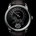 Reloj masculino Chanel Monsieur de Chanel con caja de oro blanco y escultra del león en la esfera