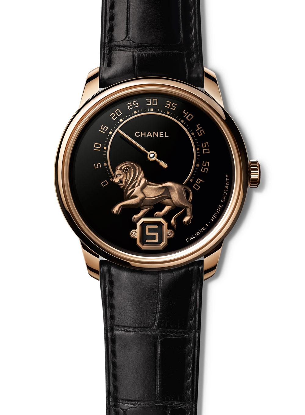 Reloj masculino Chanel Monsieur de Chanel con caja de oro beige y escultra del león en la esfera