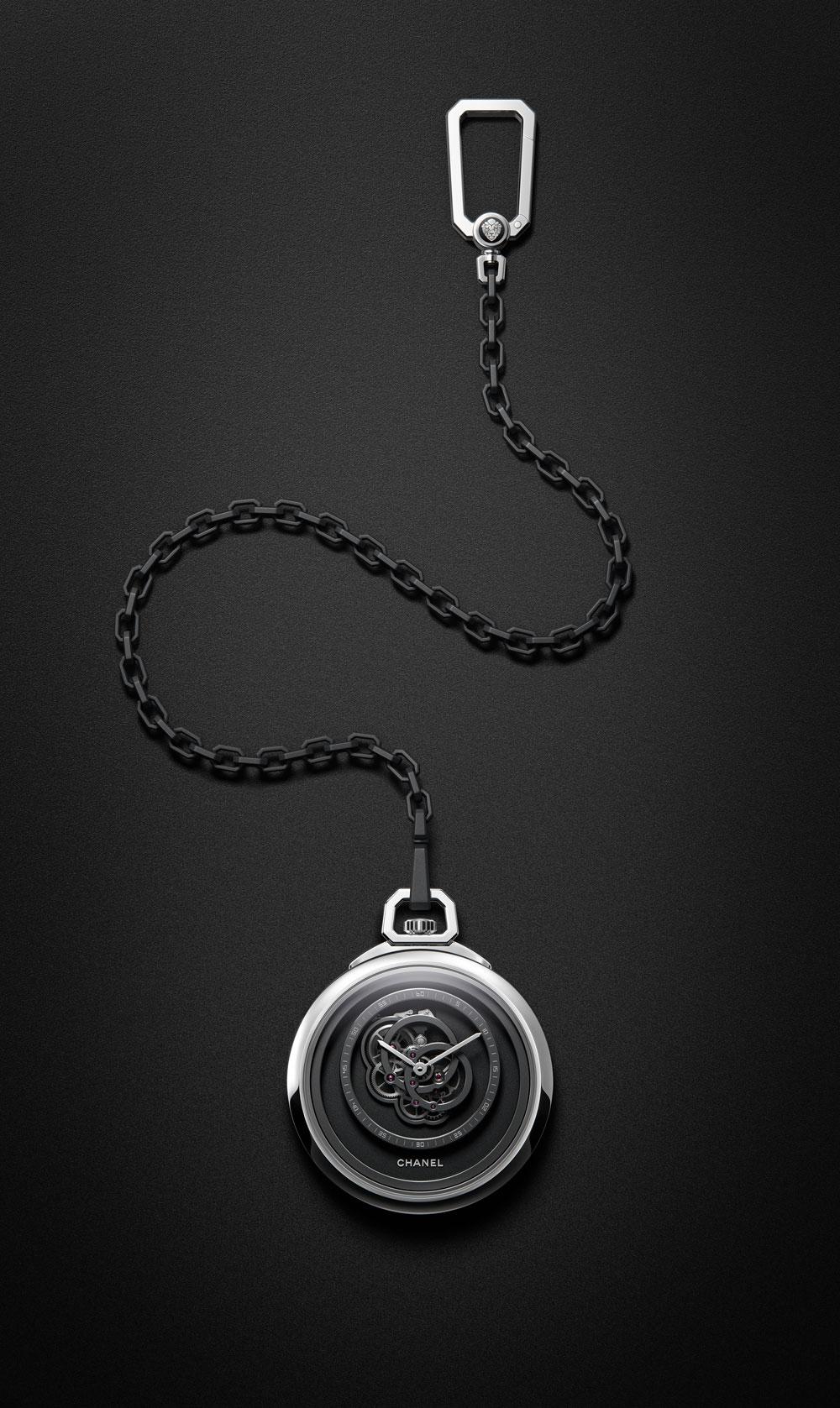 Reloj de bolsillo Monsieur de Chanel con mecanismo de cuerda manual manufactura