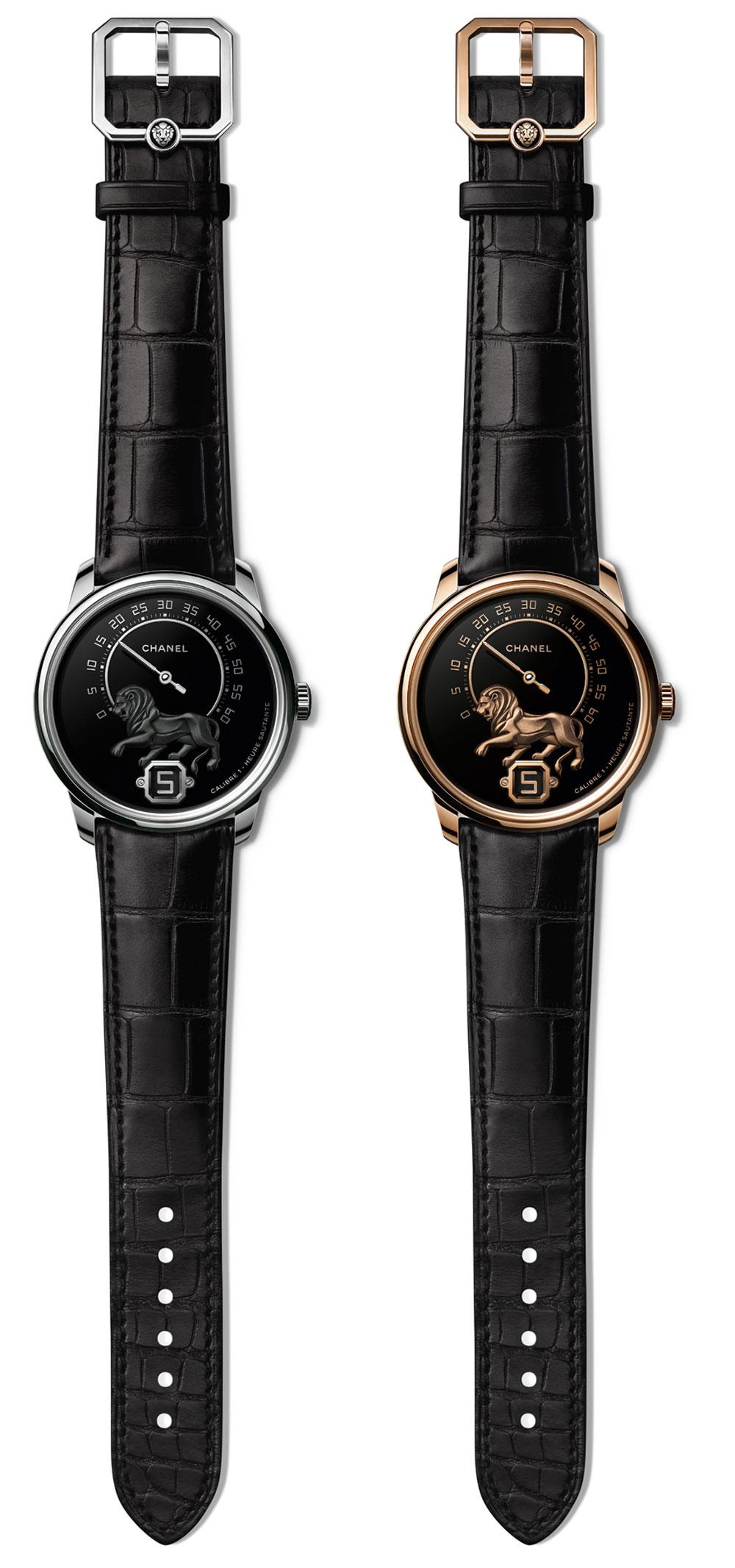 Relojes de pulsera Monsieur de Chanel con caja en oro beige y en oro blanco, los dos relojes en edición limitada de solo 20 ejemplares.