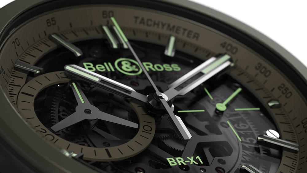 Esfera color verde caqui del cronógrafo aviador BR-X1 Military de Bell & Ross de