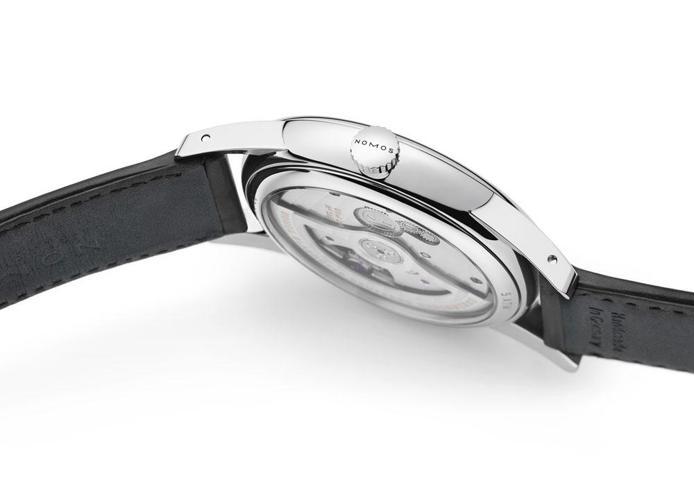Caja plana del reloj clásico hombre ultraplano Orion neomatik 41 mm Fecha de Nomos Glashütte