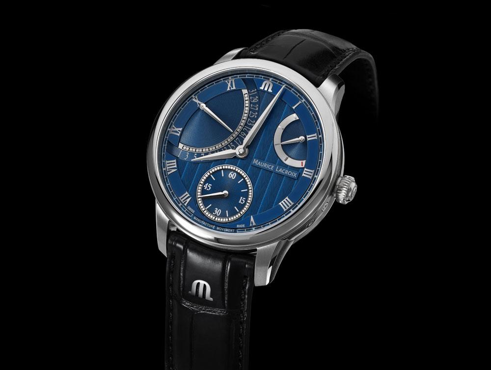 reloj retrógrado Masterpiece Retrograde Calendar esfera azul