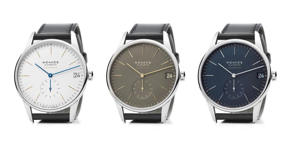 Las tres versiones del reloj clásico hombre ultraplano Orion neomatik 41 mm Fecha de Nomos Glashütte