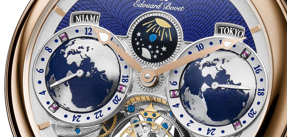 Esfera reloj reloj con triple huso horario Edouard Bovet Tourbillon