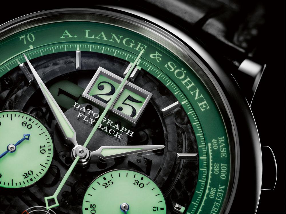 Indicaciones luminiscentes del cronógrafo flyback Datograph UP/Down Lumen de A. Lange & Söhne
