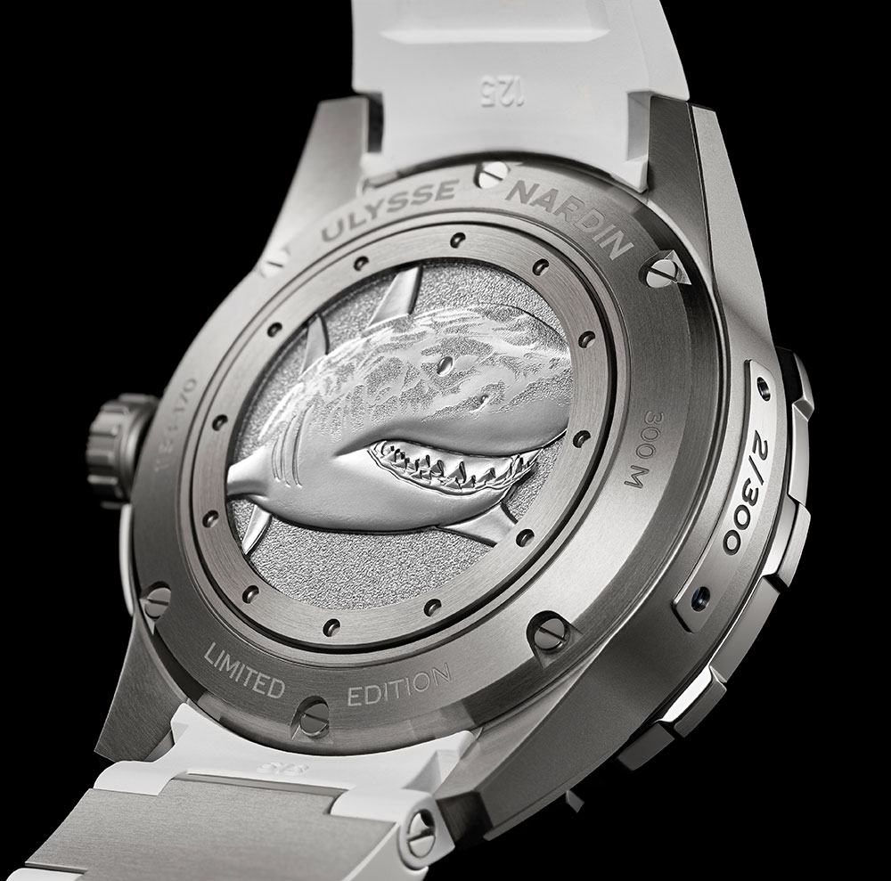 Fondo decorado del reloj de buceo Diver Chronometer Great White de Ulysse Nardin
