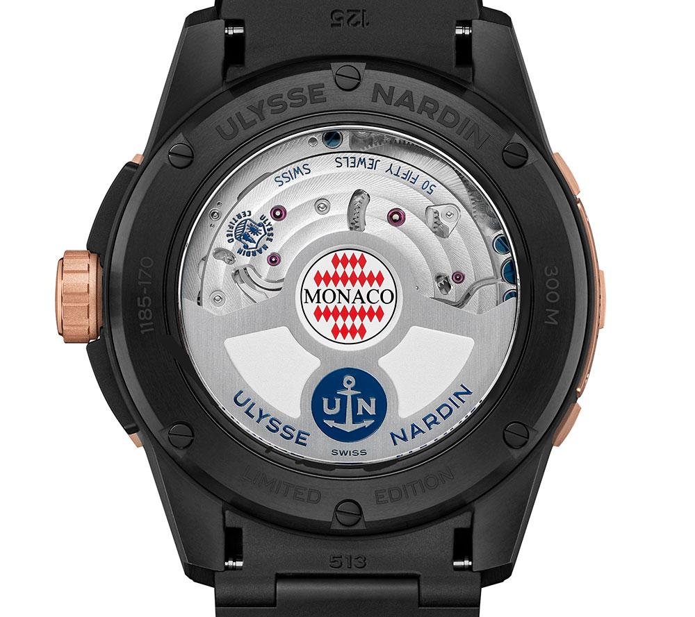 Mecanismo automático del reloj de buceo Diver Chronometer Monaco Limited Edition de Ulysse Nardin