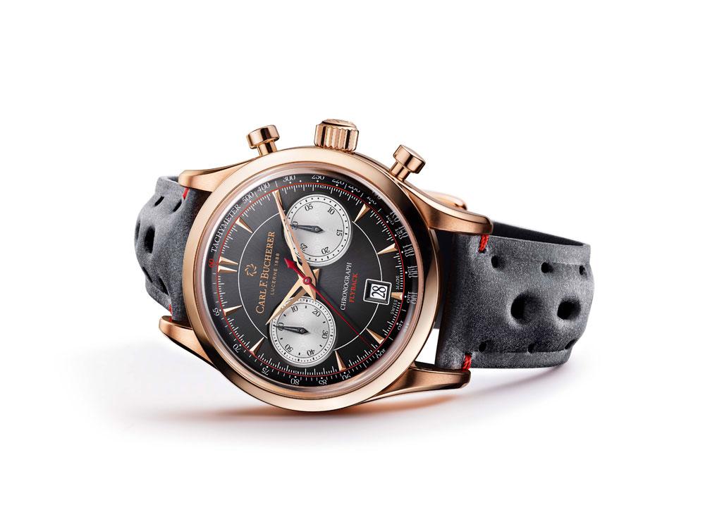 Carl F. Bucherer declina el reloj Manero Flyback con caja de oro rosa y esfera negra