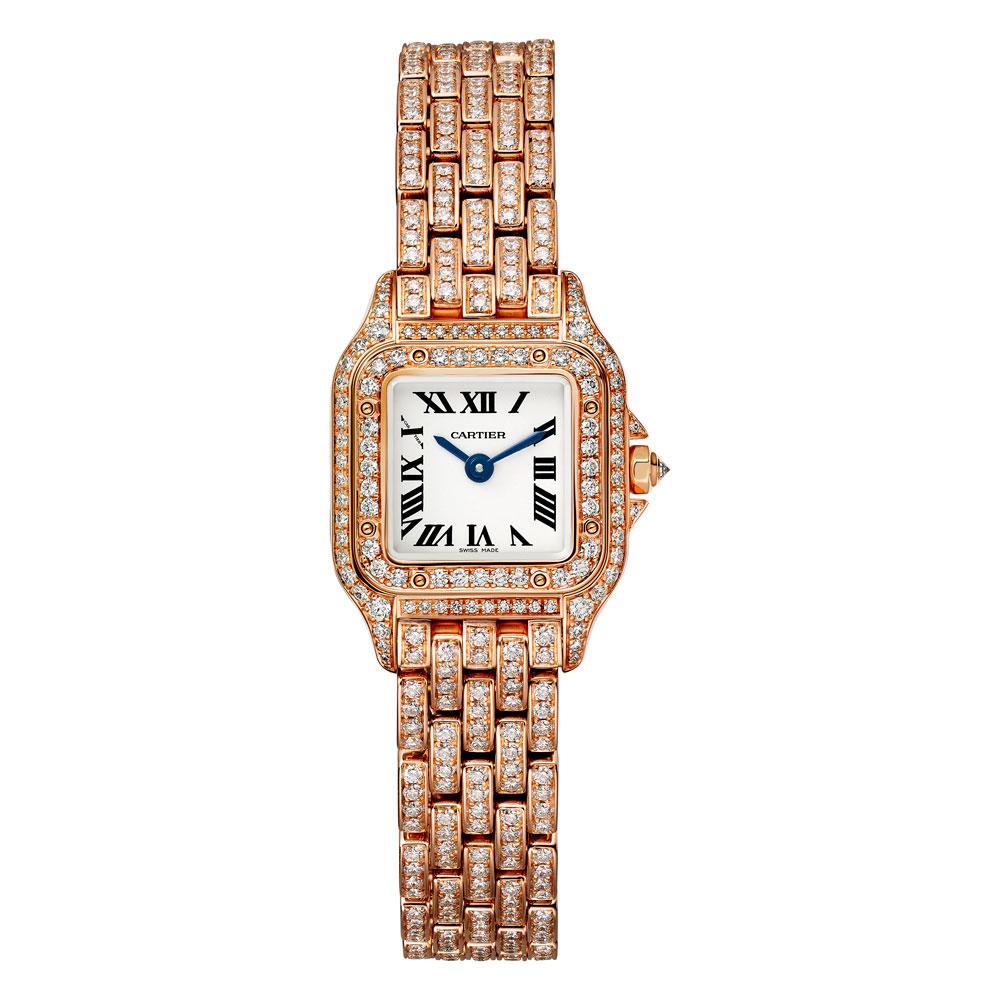 Panthère de Cartier modelo mini oro rosa pavé de diamantes