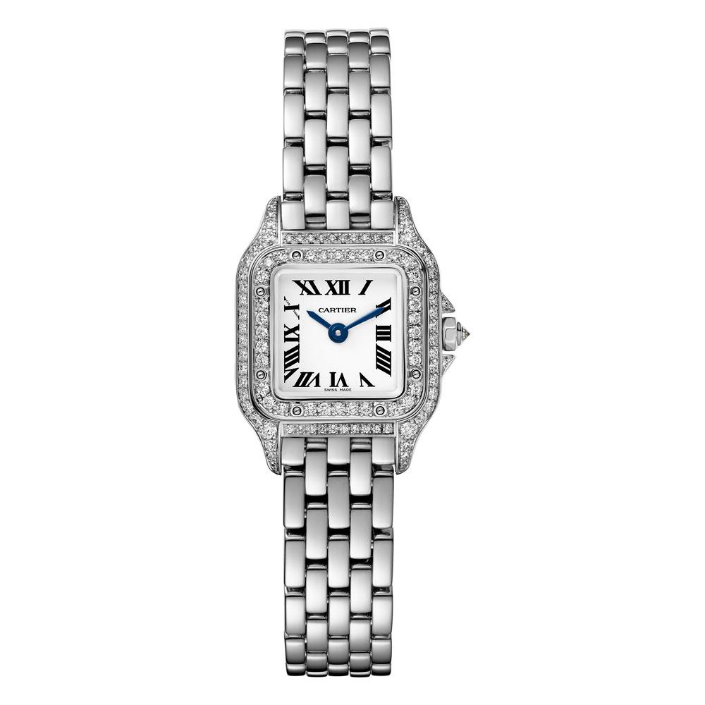 Panthère de Cartier modelo pequeño con doble hilera diamantes bisel