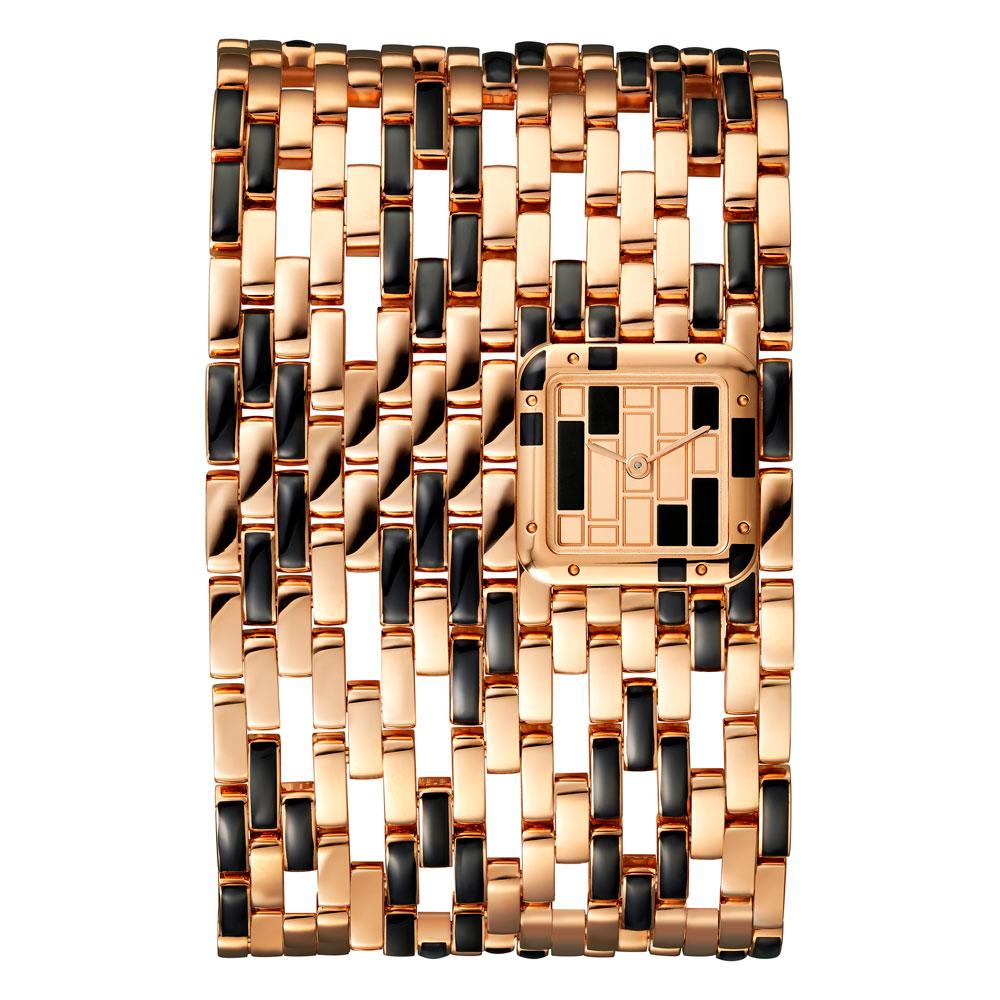 Reloj Panthère de Cartier modelo extragrande oro rosa y laca negra edición limitada 50 piezas