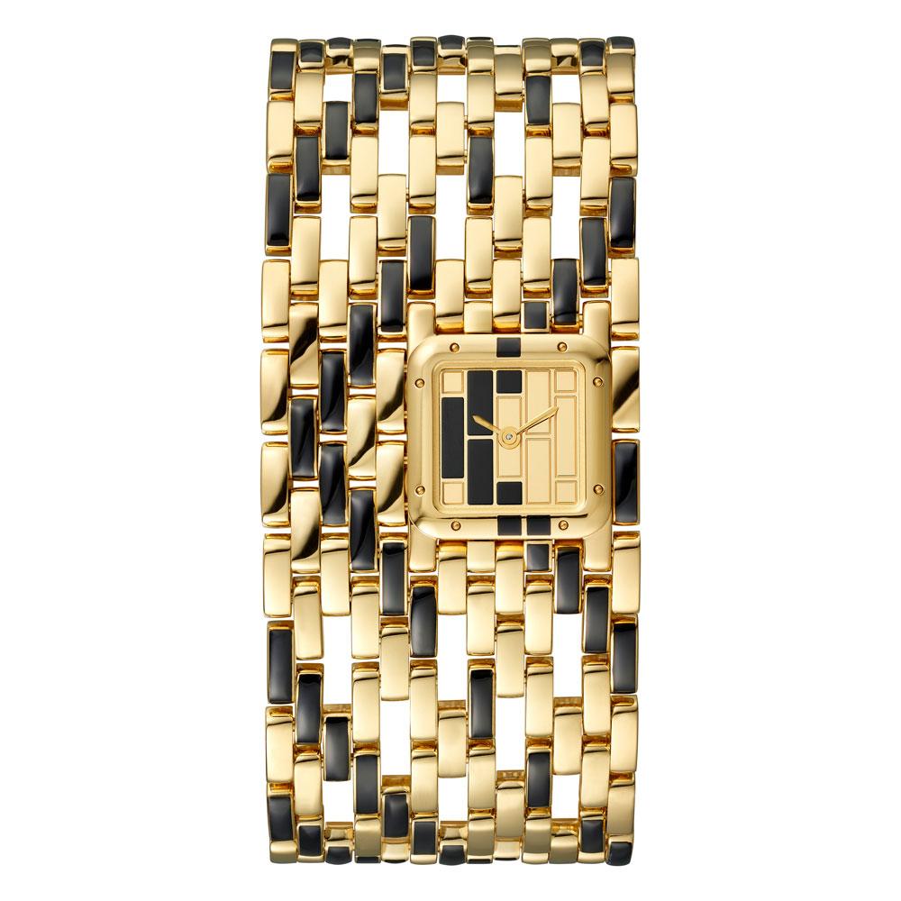 Reloj Panthère de Cartier modelo extragrande oro amarillo y laca negra edición limitada 100 piezas