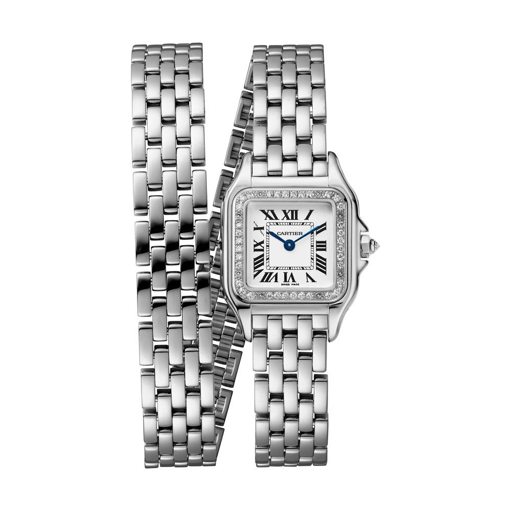Reloj Panthère Cartier oro blanco con bisel de diamantes y brazalete doble vuelta