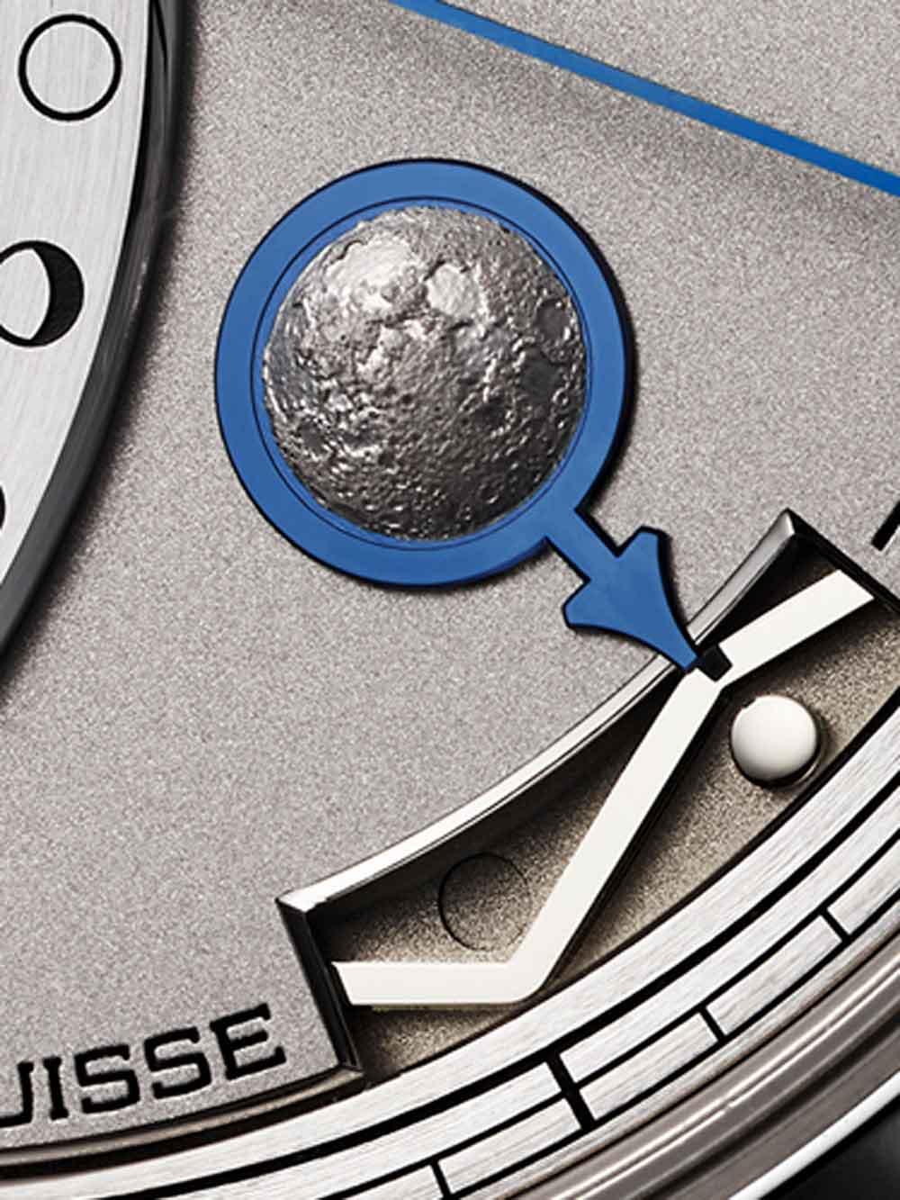 Indicador patentado fases de la luna del Reloj Chronomètre FB 1 L de la manufactura relojra suiza La Chronomètrie Ferdinand Berthoud