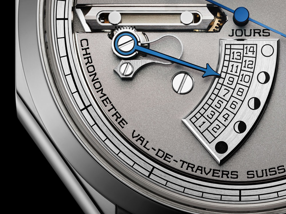 Indicador patentado edad de la luna del Reloj Chronomètre FB 1 L de la manufactura relojra suiza La Chronomètrie Ferdinand Berthoud