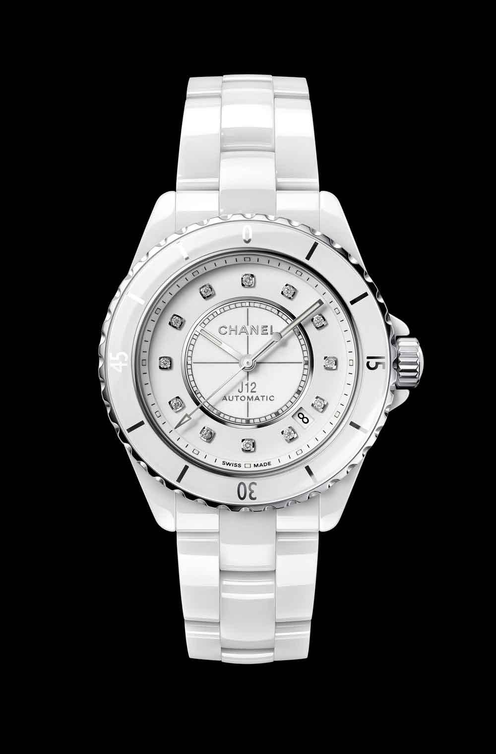 Nuevo reloj Chanel J12 cerámica blanca con diamantes a modo de índicesAC