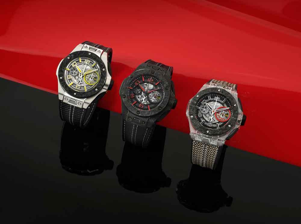tres ediciones limitadas del reloj Big Bang Scuderia Ferrari 90th Anniversary de Hublot