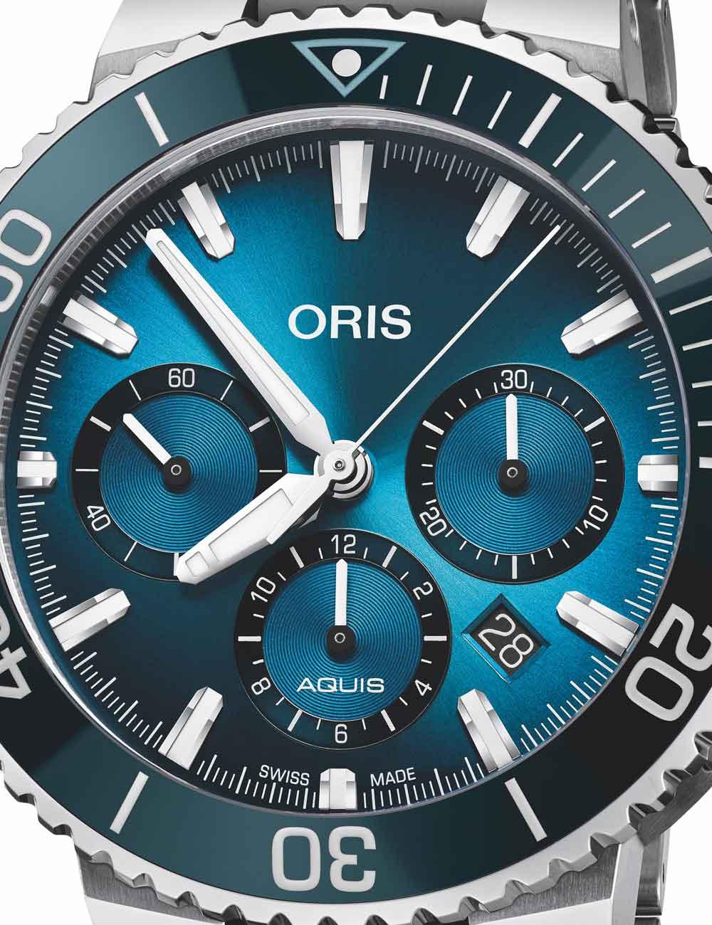 Blue Whale Limited Edition es el primer cronógrafo Aquis y el último reloj Ocean Trilogy presentado por Oris.
