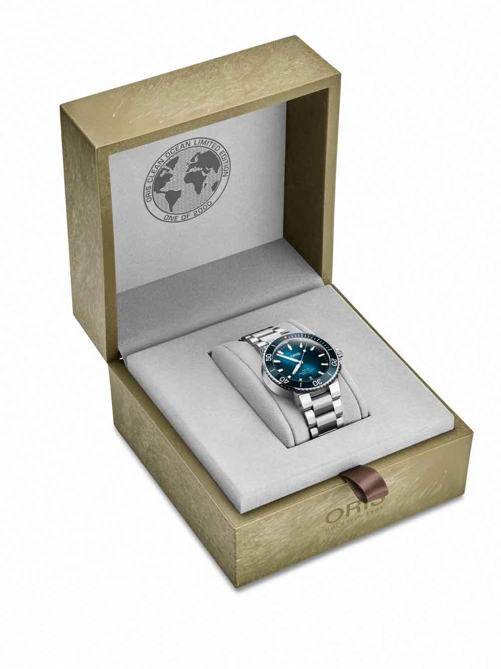 Estuche reciclado reloj de buceo Oris Clean Ocean Limited Edition
