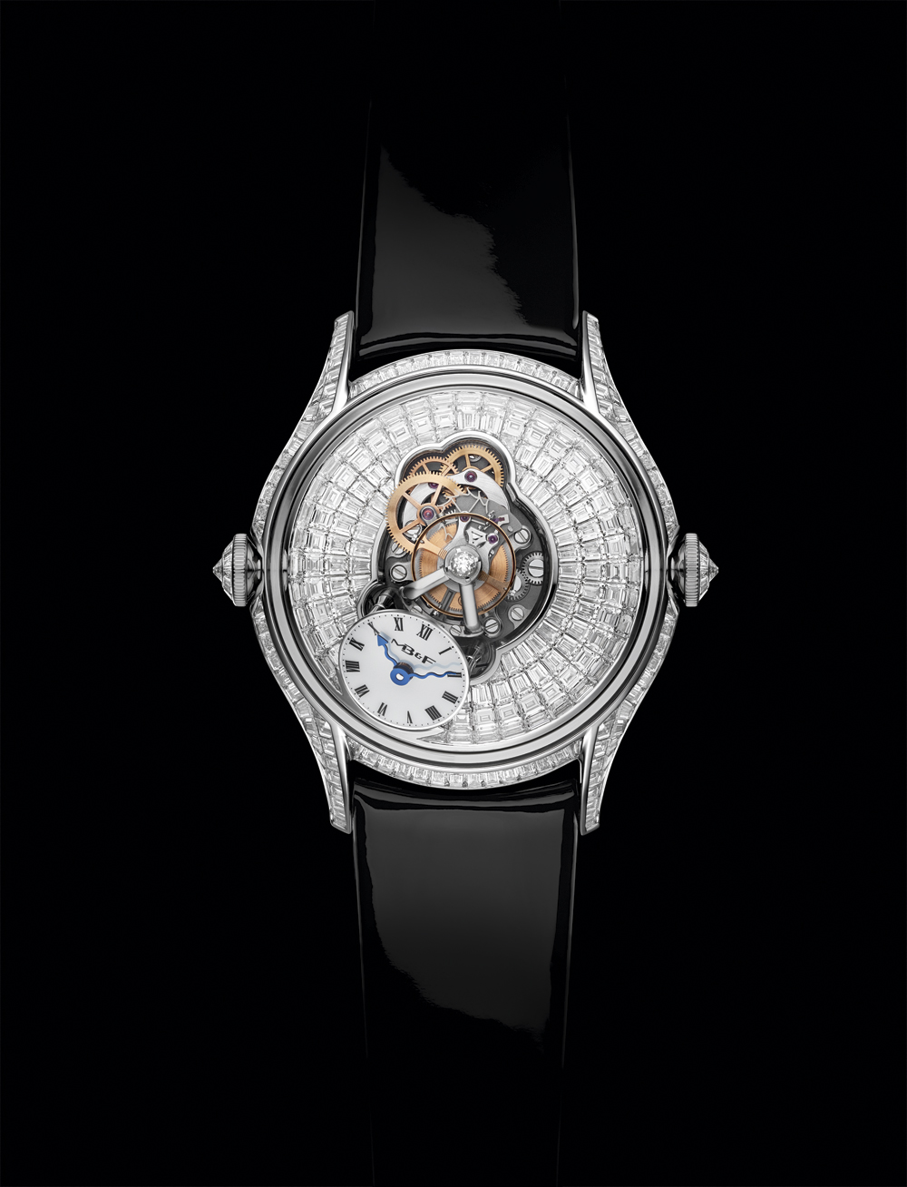 Reloj femenino Legacy Machine FlyingT de MB&FAC con diamantes talla pavé